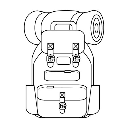 Mochila de viaje con bolsa de dormir y linterna icono sobre fondo blanco ilustración vectorial Foto de archivo - 84887373