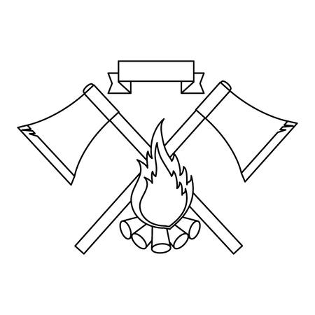 白い背景のベクトル図に斧、キャンプファイヤーのアイコンとエンブレム  イラスト・ベクター素材