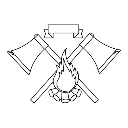 Emblem with axe and campfire icon over white background vector illustration Illusztráció