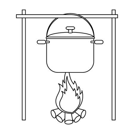 kookpot over kampvuur pictogram over witte achtergrond vectorillustratie