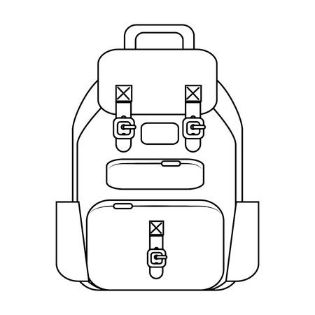白い背景ベクトルイラストの上に旅行バックパックのアイコン
