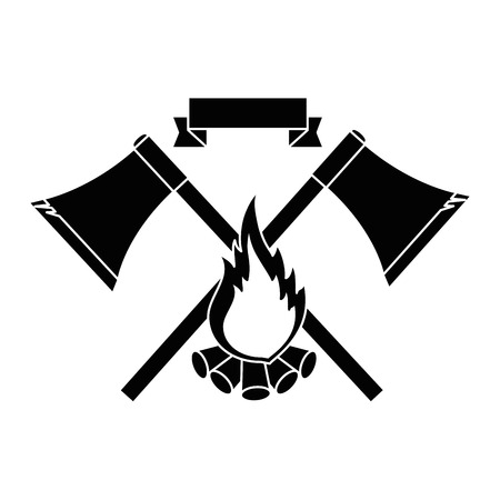 emblem with ax and campfire icon over white background vector illustration