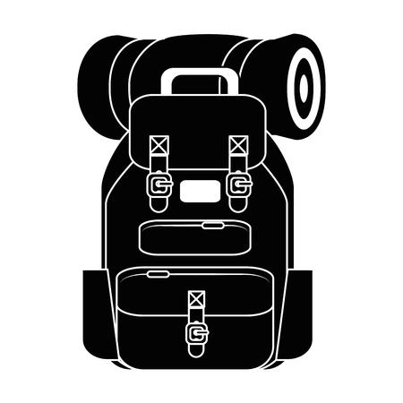 Reisrugzak met slaapzak en lantaarnpictogram over witte vectorillustratie als achtergrond