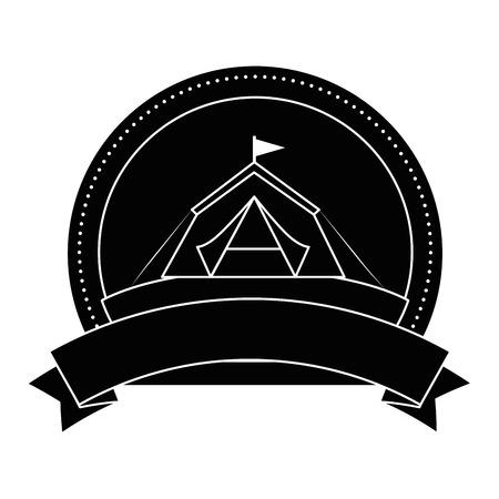 白い背景ベクトル図で避難所テント アイコンとエンブレム