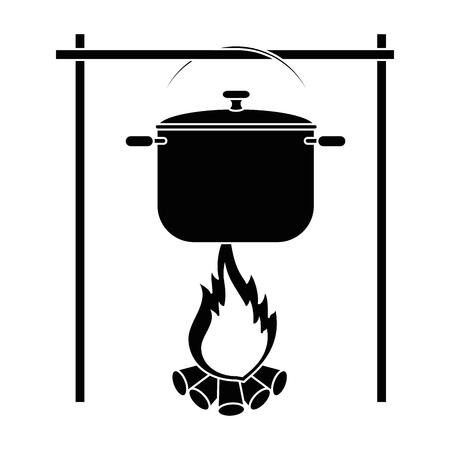 白い背景ベクトルイラストの上にキャンプファイヤーアイコンの上に調理ポット  イラスト・ベクター素材