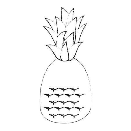 흰색 배경 벡터 일러스트 레이 션을 통해 파인애플 과일 아이콘입니다.