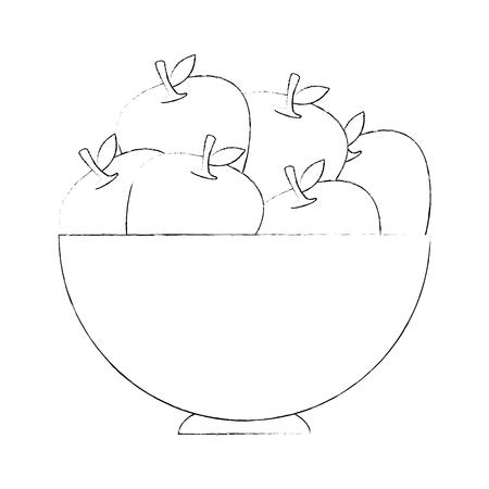 Kom met appelpictogram over witte vectorillustratie als achtergrond