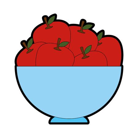 リンゴのアイコンが白い背景ベクトル図ボウルします。