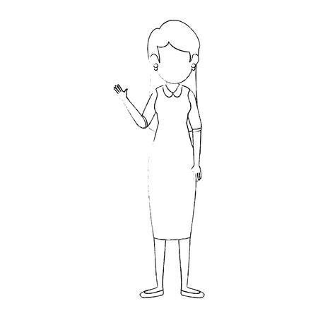 avatar businesswoman icon over white background vector illustration