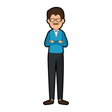 Pictogram van de man anoniem avatar over witte vectorillustratie als achtergrond Stock Illustratie