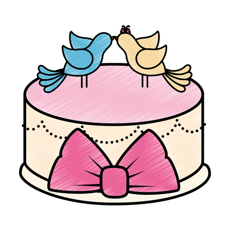 Cute wedding cake icon vector illustration graphic design Çizim