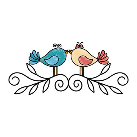 Cute couple of birdies icon vector illustration graphic design