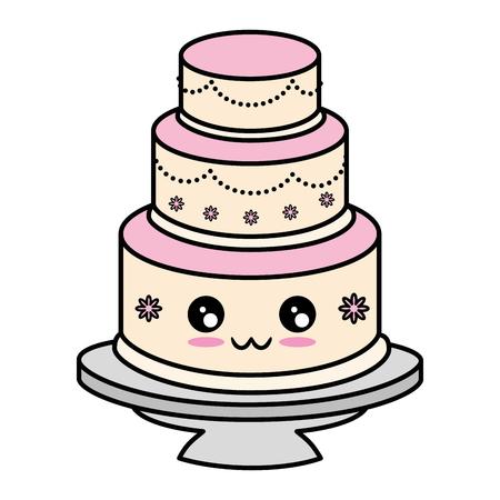 Cute wedding cake cute cartoon   vector illustration  graphic