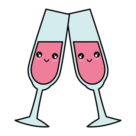 Cute Champagne cup cute cartoon  vector illustration  graphic