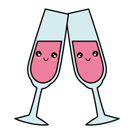 Grafico sveglio dell'illustrazione di vettore del fumetto della tazza sveglia di Champagne Archivio Fotografico - 84892581