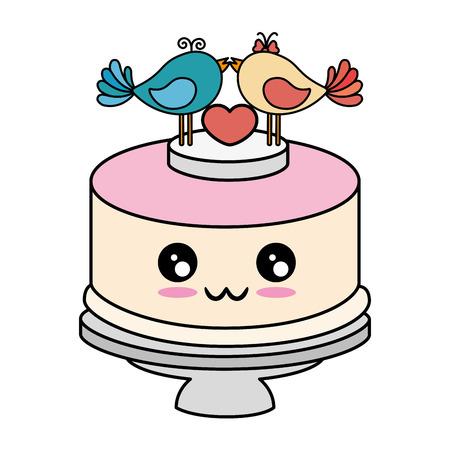 Cute wedding cake cute cartoon  vector illustration  graphic Illustration