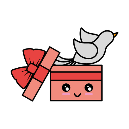Cute gift box cute cartoon  vector illustration  graphic