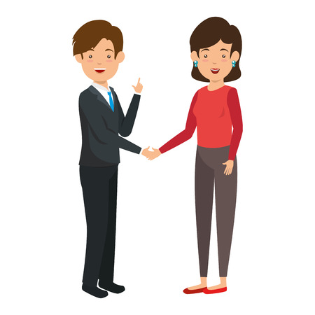 businesspeople standing icon over white background vector illustration Çizim
