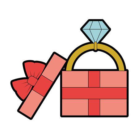 흰색 배경 벡터 일러스트 레이 션 위에 다이아몬드 반지 아이콘으로 선물 상자 스톡 콘텐츠 - 84892815