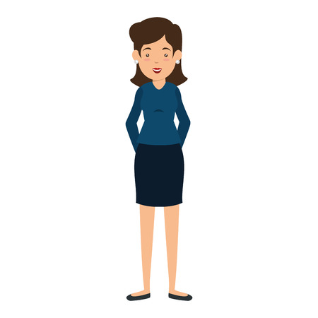 avatar businesswoman icon over white background vector illustration