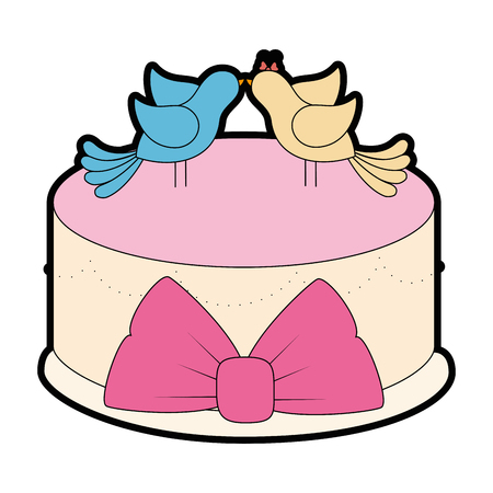 wedding cake with decorative couple of doves  icon over white background vector illustration