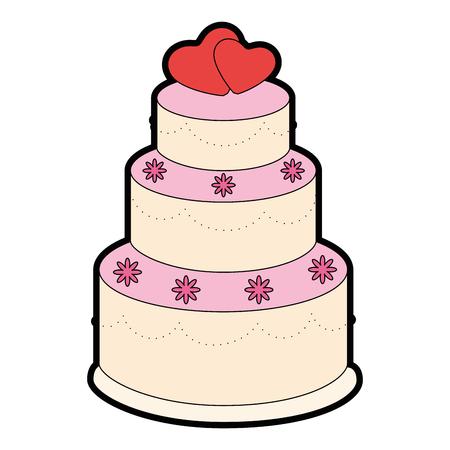 wedding cake icon over white background vector illustration