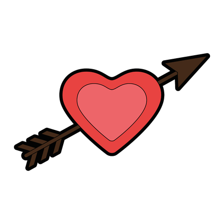 arrowed heart icon over white background vector illustration
