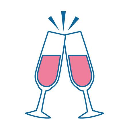 champagne glasses icon over white background vector illustration Illustration