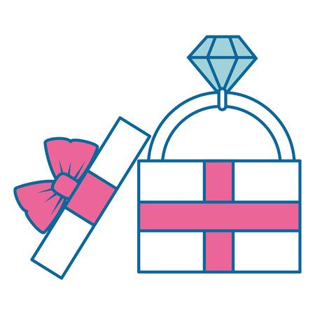 白い背景のベクトル図をダイヤモンド リング アイコンが付いたギフト ボックス  イラスト・ベクター素材