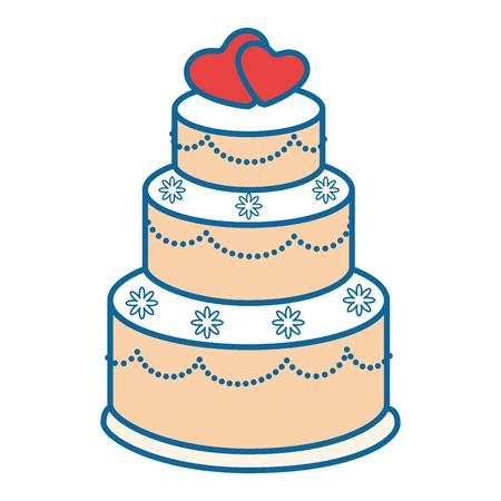 Hochzeitstortenikone über weißer Hintergrundvektorillustration Standard-Bild - 84892306