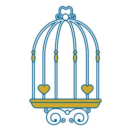 흰색 배경 벡터 일러스트 레이 션을 통해 빈티지 birdcage 아이콘