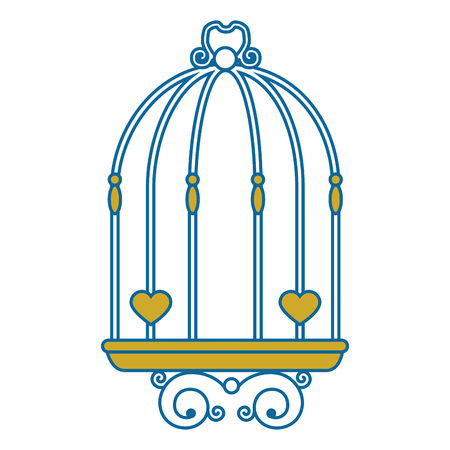 vintage birdcage icon over white background vector illustration Çizim