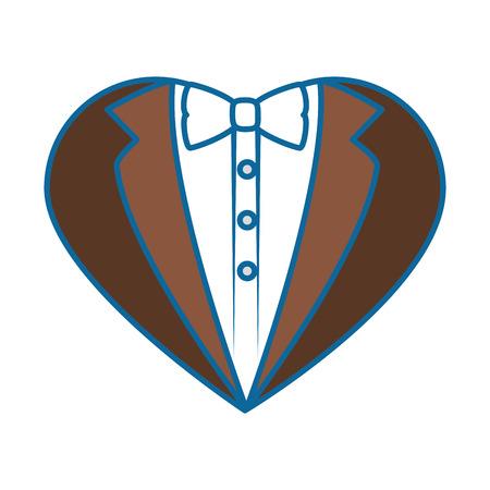 白い背景のベクトル図に心図形アイコンの新郎スーツ