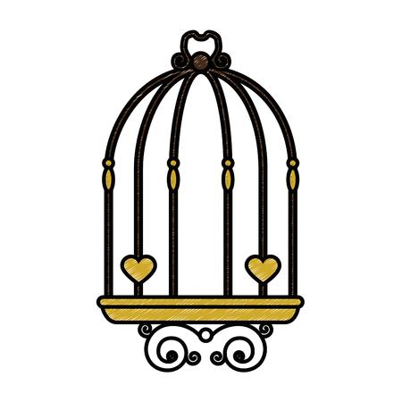 白背景ベクトル イラスト上のビンテージ鳥かごアイコン