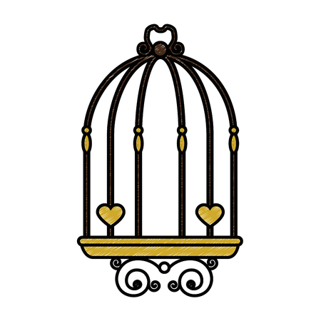 vintage birdcage icon over white background vector illustration Illusztráció