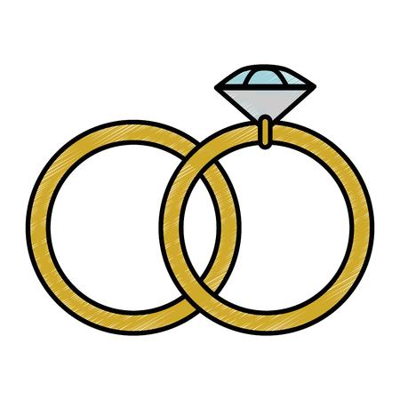 白背景ベクトル イラスト上のダイヤモンド リング アイコン
