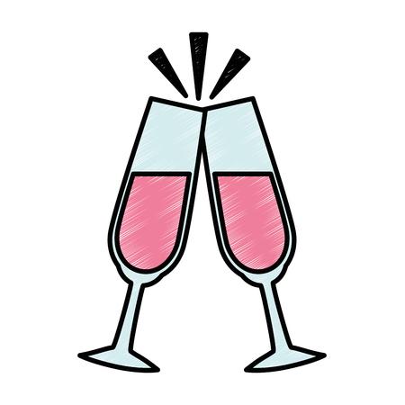 champagne celebration: champagne glasses icon over white background vector illustration Illustration