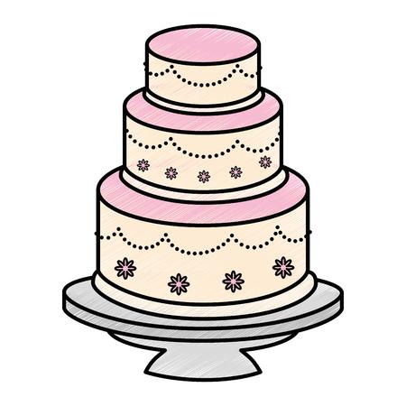 白い背景のベクトル図をウエディング ケーキ アイコン