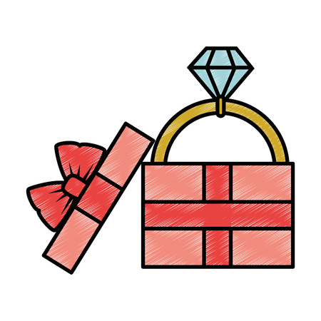 gift box with diamond ring icon over white background vector illustration Ilustração