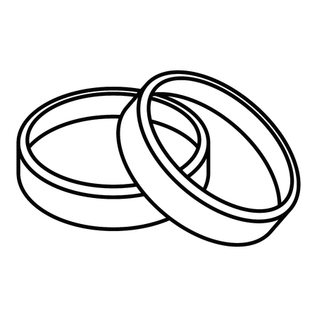 wedding rings icon over white background vector illustration