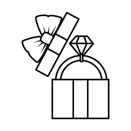 흰색 배경 벡터 일러스트 레이 션 위에 다이아몬드 반지 아이콘으로 선물 상자 스톡 콘텐츠 - 84919299