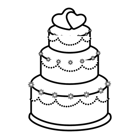 Wedding cake icon over white background illustration