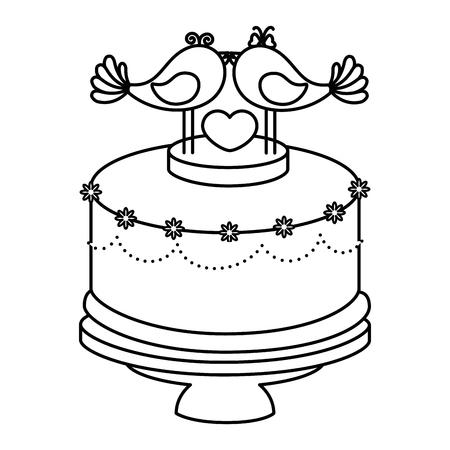 Hochzeitskuchen mit dekorativen Paaren der Taubenikone über weißem Hintergrund Standard-Bild - 84919345