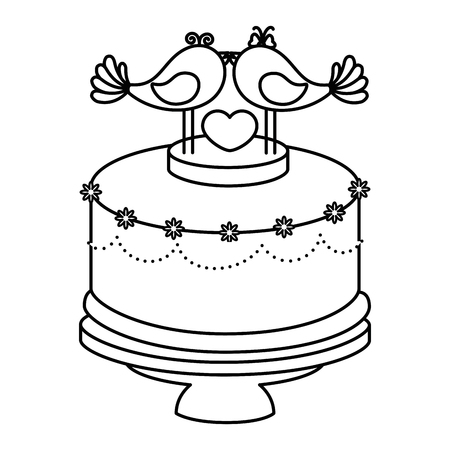 Wedding cake with decorative couple of doves icon over white background