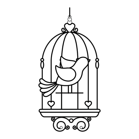 Birdcage with cute dove icon over white background