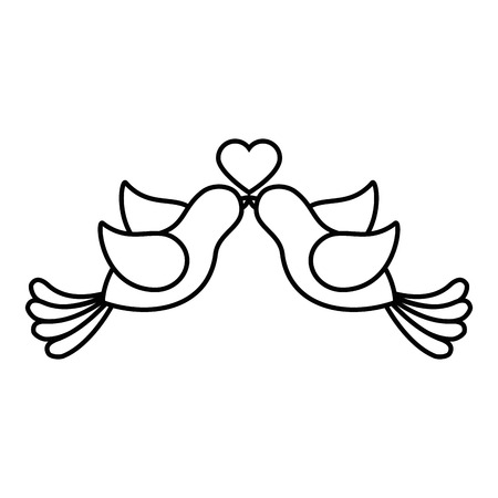 Cute couple of doves with heart icon over white background Stok Fotoğraf - 84919372
