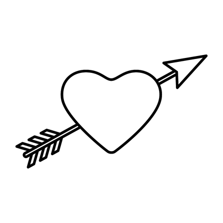 Arrowed heart icon over white illustration