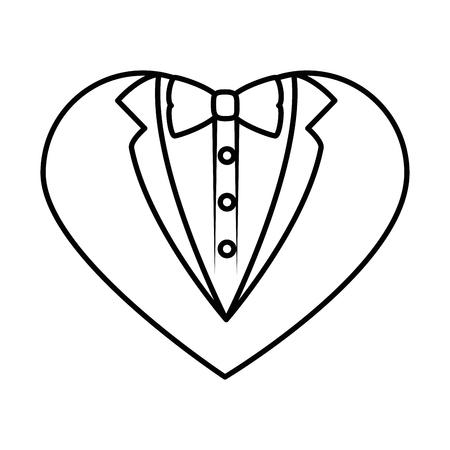 白い背景の上の心図形アイコンの新郎スーツ  イラスト・ベクター素材