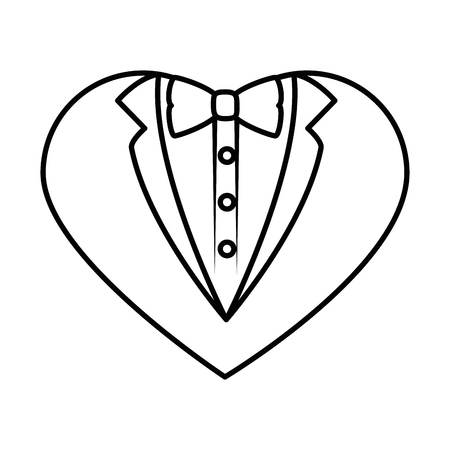 Groom suit in heart shape icon over white background Ilustração