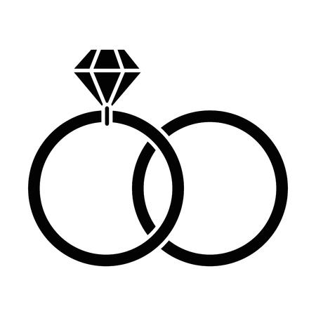 白い背景上のダイヤモンド リング アイコン  イラスト・ベクター素材